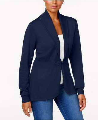 Karen Scott Long-Sleeve Clasp Cardigan