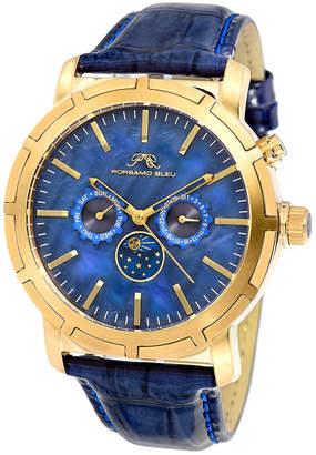 Porsamo Bleu Nyc Stainless Steel Blue Dial Moon Watch