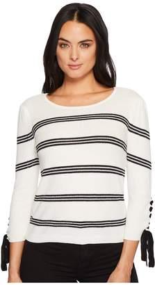 CeCe Long Sleeve Lace-Up Sleve Striped Sweater Women's Sweater