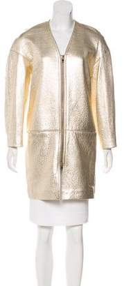 Isabel Marant Metallic Leather Zip-Up Coat