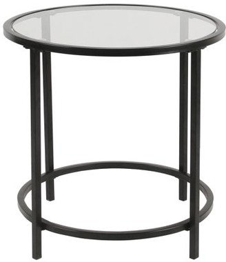 HomePop Round Metal Accent Table with Glass Top-Black