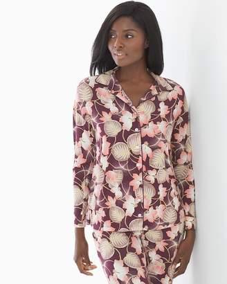 Cool Nights Long Sleeve Notch Collar Pajama Top Charmed Floral Merlot