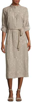T Tahari Women's Button-Front Embroidered Dress