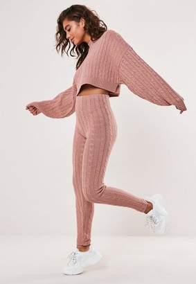 Missguided Rose Co Ord Cable Knit Leggings
