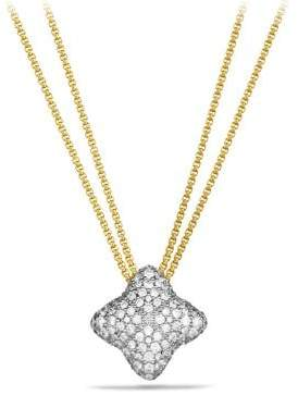 David Yurman Quatrefoil Pendant Necklace With Diamonds In 18K Gold