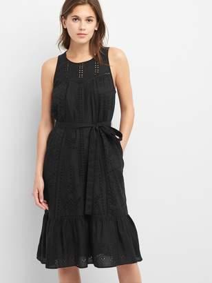 Gap Eyelet sleeveless tier dress