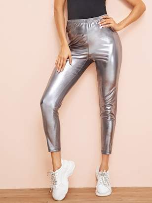 Shein Elastic Waist Metallic Cigarette Pants