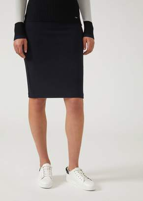 Emporio Armani Jersey Pencil Skirt With Ottoman-Effect