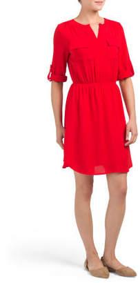 Juniors Elbow Sleeve Shirt Dress