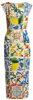 Dolce & Gabbana Majolica Print Charmeuse Boat Neck Dress - Womens - White Print