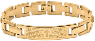 FINE JEWELRY Mens 18K Gold Plated Stainless Steel Spanish Lord's Prayer Link Bracelet