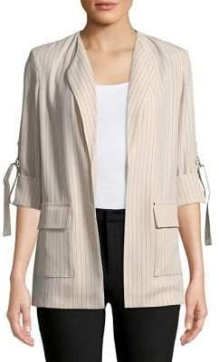 Calvin Klein Plus Strap-Sleeve Pinstripe Jacket