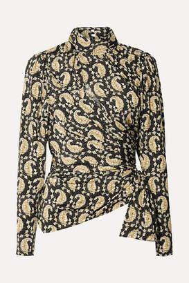 Altuzarra Cutout Ruched Paisley-print Stretch-jersey Turtleneck Top - Black