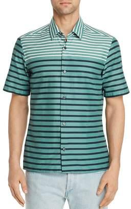 HUGO BOSS Lukka Short-Sleeve Striped Color-Block Slim Fit Shirt