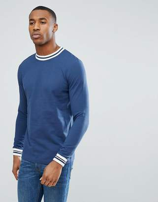 Asos DESIGN Long Sleeved T-Shirt With Contrast Tipping In Pique
