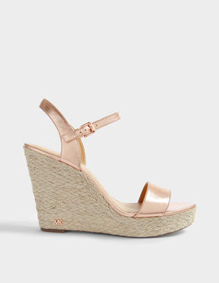 MICHAEL Michael Kors Jill Wedge Sandals in Soft Pink Metallic Nappa Leather