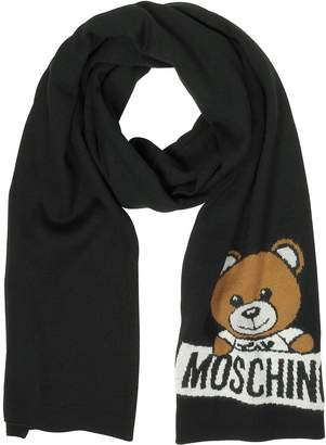 Moschino Black Woven Wool Scarf w/Teddy Bear