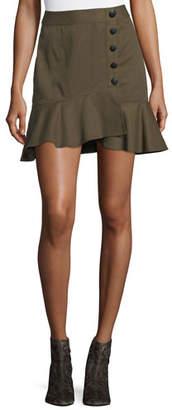 Veronica Beard Claremont Canvas Ruffled Skirt