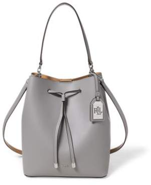 Ralph Lauren Leather Debby Drawstring Bag Light Grey/Palomino One Size