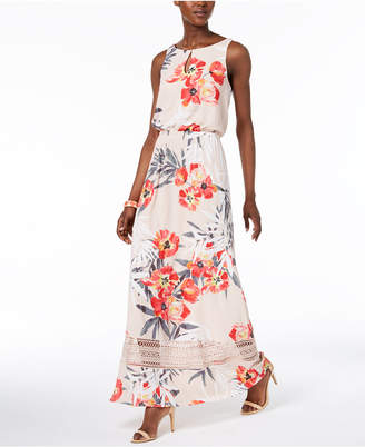 Adrianna Papell Floral-Print Keyhole Maxi Dress