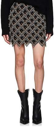 Fendi Women's Beaded Leather Miniskirt - Black
