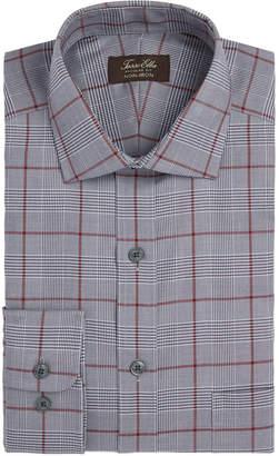 Tasso Elba Men Classic/Regular Fit Non-Iron Basketweave Windowpane Dress Shirt