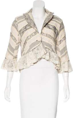 Robert Rodriguez Lace-Accented Embroidered Jacket