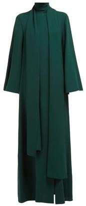 Carolina Herrera Tie Neck Flared Sleeve Silk Gown - Womens - Green