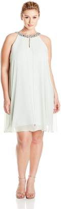 Adrianna Papell Women's Size Plus Chiffon Veiled Banded Sheath Dress