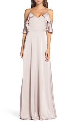 Women's Monique Lhuillier Bridesmaids Isabel Sateen Cold Shoulder Gown $300 thestylecure.com