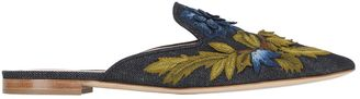 10mm Embroidered Denim Mules $925 thestylecure.com