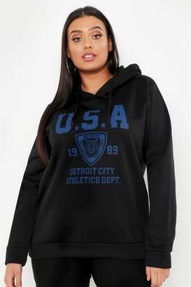 boohoo Plus USA Hooded Sweat