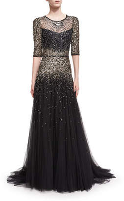 Jenny Packham Beaded Short-Sleeve Tulle Gown $7,065 thestylecure.com