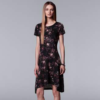 Vera Wang Women's Simply Vera Floral High-Low Hem Dress