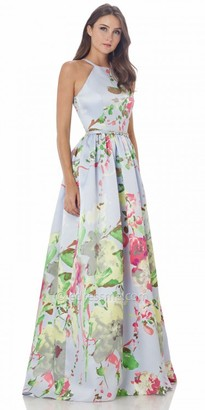 Carmen Marc Valvo Infusion Satin Floral Watercolor Halter Prom Dress $425 thestylecure.com