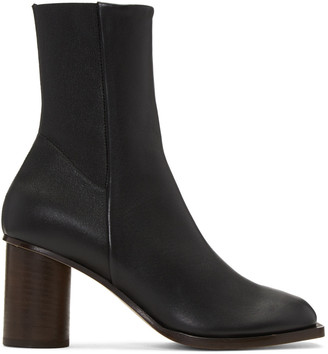 Helmut Lang Black Stretch Nappa Square Toe Boots $695 thestylecure.com