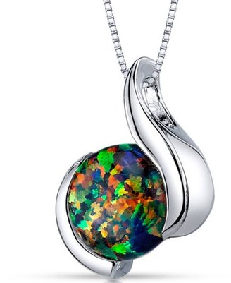 """Black Opal Oravo 1.75 Carat Round Cabochon Created Rhodium over Sterling Silver Pendant, 18"""""""