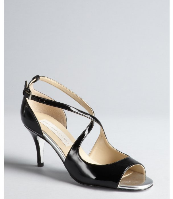 Stella McCartney black and silver shined faux leather cutout peep-toe pumps