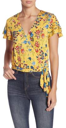 June & Hudson Mock Wrap Floral Tee
