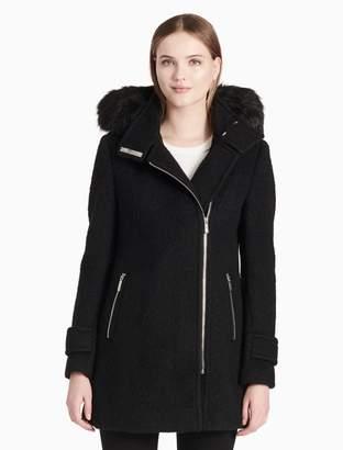 Calvin Klein luxe crumpled funnel neck coat