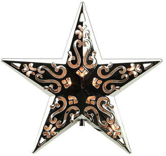 Asstd National Brand 8 Lighted Silver Cut-Out Design Decorative Star Christmas Tree Topper - Clear Lights