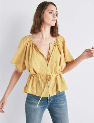Lucky Brand SHORT SLEEVE EMBROIDERED PEASANT TOP