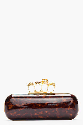 Alexander McQueen Gold and tortoiseshell Knuckleduster Long Box Clutch