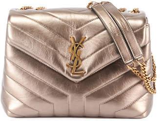c0c83a1e8e6 Saint Laurent Loulou Monogram Small V-Flap Metallic Leather Shoulder Bag