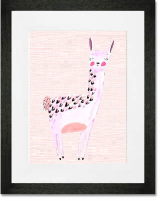 Oopsy Daisy Fine Art For Kids 'Large Lovely Llama - Pink' by Katy Smail Framed Painting Print