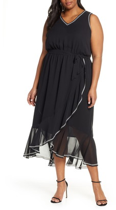 Vince Camuto Embroidered Ruffle Belted Chiffon Dress