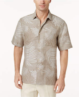 Tasso Elba Linen Leaf Jacquard Short-Sleeve Shirt
