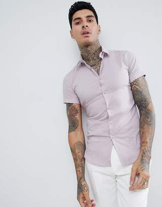 Twisted Tailor short sleeve super skinny shirt in pink