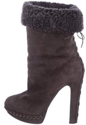 brand new 7f32d 6b5fd Christian Louboutin Gray Suede Women's Boots - ShopStyle