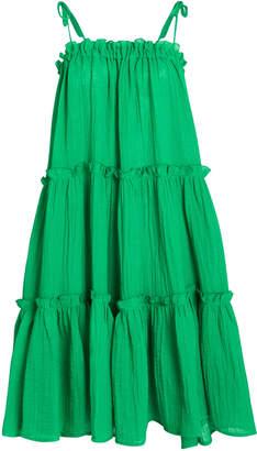 Lisa Marie Fernandez Cotton Gauze Ruffle Peasant Dress